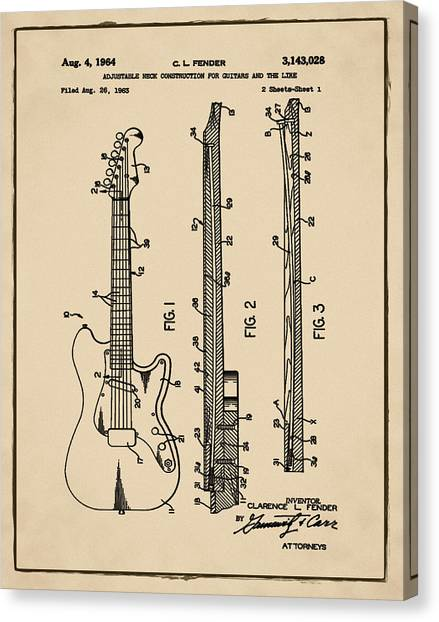 Slide Guitars Canvas Print - Fender Stratocaster Patent 1964 Sepia by Bill Cannon