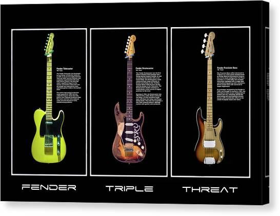 Stratocasters Canvas Print - Fender Triple Threat by Peter Chilelli