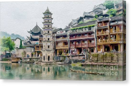 China Town Canvas Print - Fenghuang Collection - 1 by Sergey Lukashin