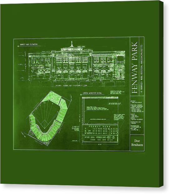 Fenway Park Blueprints Home Of Baseball Team Boston Red Sox Canvas Print
