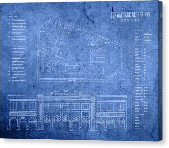 Fenway Park Canvas Print - Fenway Park Blueprints Home Of Baseball Team Boston Red Sox On Worn Parchment by Design Turnpike