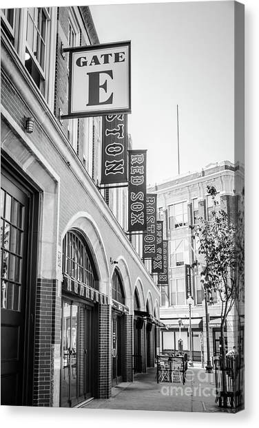 Boston Red Sox Canvas Print - Fenway Park Gate E Entrance Black And White Photo by Paul Velgos