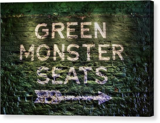 Fenway Park Canvas Print - Fenway Park Green Monster Seats by Joann Vitali