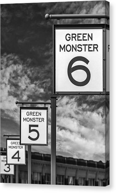 Fenway Park Canvas Print - Fenway Park Green Monster Section Signs Bw by Susan Candelario