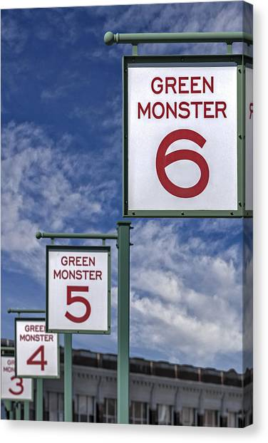 Fenway Park Canvas Print - Fenway Park Green Monster Section Signs by Susan Candelario