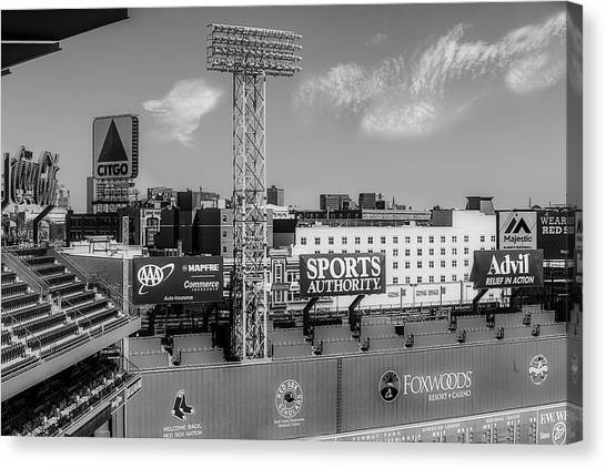Fenway Park Canvas Print - Fenway Park Green Monster Wall Bw by Susan Candelario