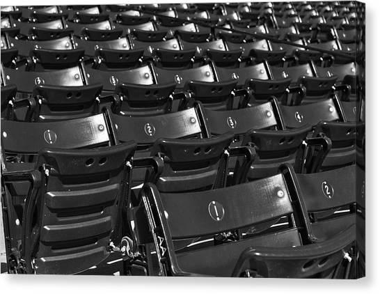 Fenway Park Canvas Print - Fenway Park Red Bleachers Bw by Susan Candelario