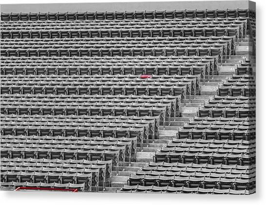 Fenway Park Canvas Print - Fenway Park Red Chair Number 21 Bw by Susan Candelario