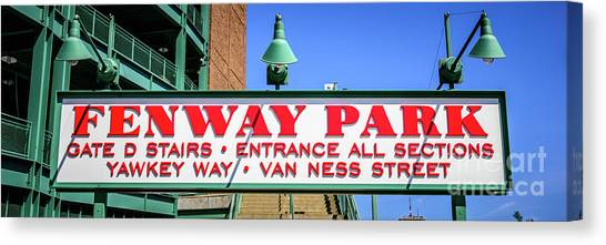 Boston Red Sox Canvas Print - Fenway Park Sign Gate D Entrance Panorama Photo by Paul Velgos