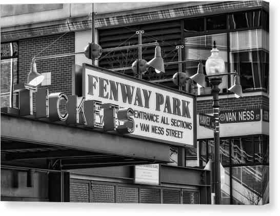 Fenway Park Canvas Print - Fenway Park Tickets Bw by Susan Candelario