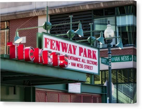 Fenway Park Canvas Print - Fenway Park Tickets by Susan Candelario
