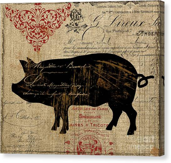Pig Farms Canvas Print - Ferme Farm Piglet by Mindy Sommers