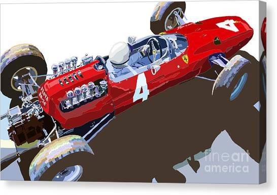 Sports Cars Canvas Print - Ferrari 158 F1 1965 Dutch Gp Lorenzo Bondini by Yuriy Shevchuk