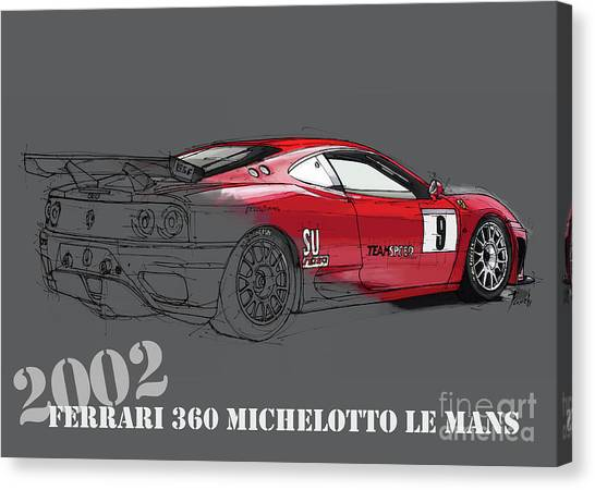 Arte Canvas Print - Ferrari 360 Michelotto Le Mans Race Car. Grey Background by Drawspots Illustrations