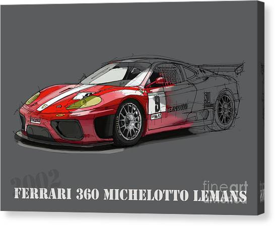 Arte Canvas Print - Ferrari 360 Michelotto Le Mans Race Car. by Drawspots Illustrations