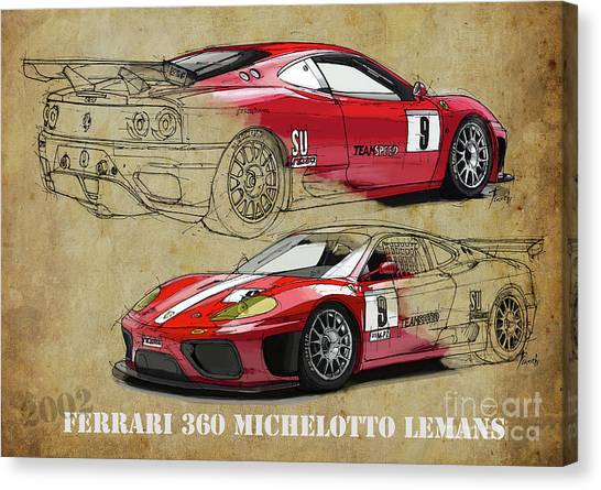 Arte Canvas Print - Ferrari 360 Michelotto Le Mans Race Car. Two Drawings One Print by Drawspots Illustrations