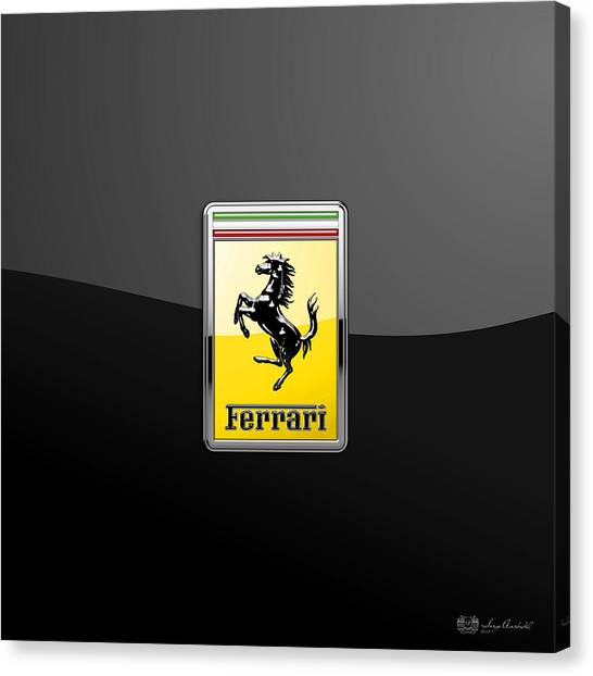 Automobiles Canvas Print - Ferrari 3d Badge- Hood Ornament On Black by Serge Averbukh
