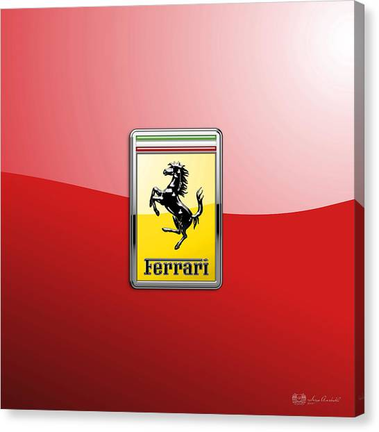 Automobiles Canvas Print - Ferrari 3d Badge-hood Ornament On Red by Serge Averbukh