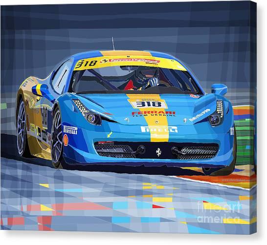 2012 Canvas Print - Ferrari 458 Challenge Team Ukraine 2012 Variant by Yuriy Shevchuk