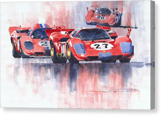 Ferrari Canvas Print - Ferrari 512 S 1970 24 Hours Of Daytona by Yuriy Shevchuk