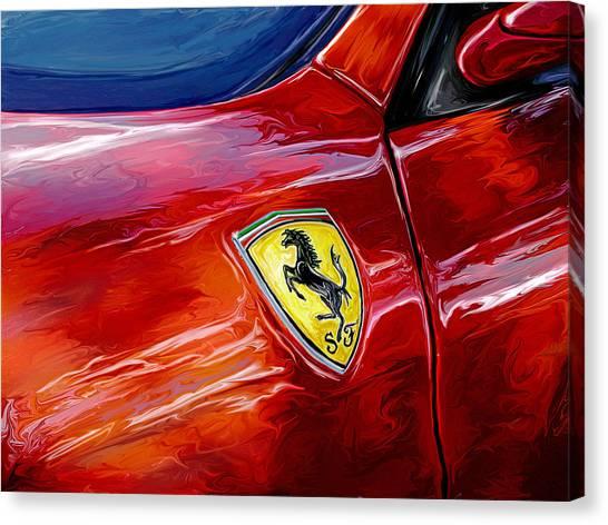 Sports Cars Canvas Print - Ferrari Badge by David Kyte