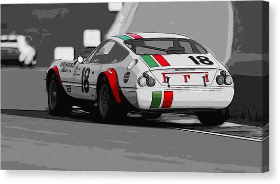 Ferrari Daytona 365 Gtb4 - Italian Flag Livery Canvas Print by Andrea Mazzocchetti