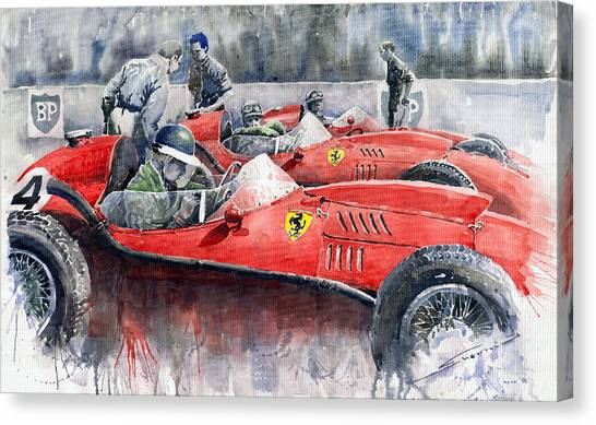 Sports Cars Canvas Print - Ferrari Dino 246 F1 1958 Mike Hawthorn French Gp  by Yuriy Shevchuk