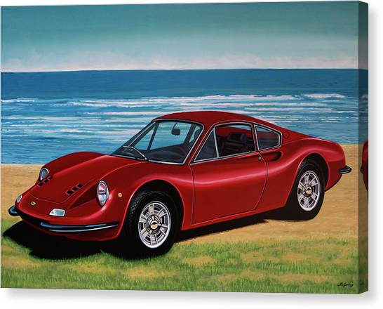 Antique Car Canvas Print - Ferrari Dino 246 Gt 1969 Painting by Paul Meijering