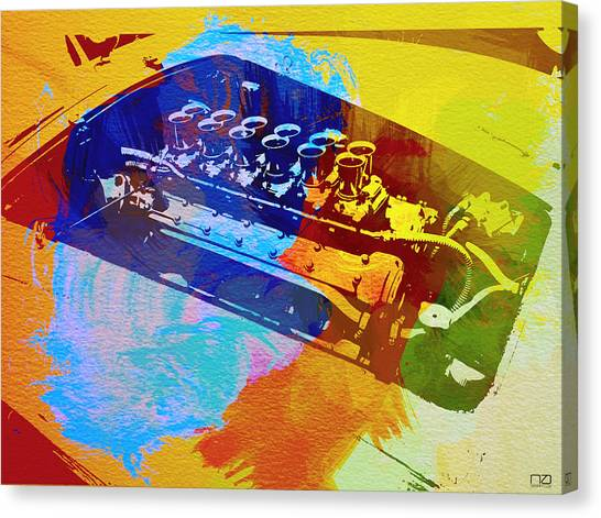 Grills Canvas Print - Ferrari Engine Watercolor by Naxart Studio