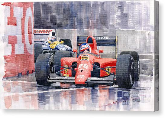 Sports Cars Canvas Print - 1991 Ferrari F1 Jean Alesi Phoenix Us Gp Arizona 1991 by Yuriy Shevchuk