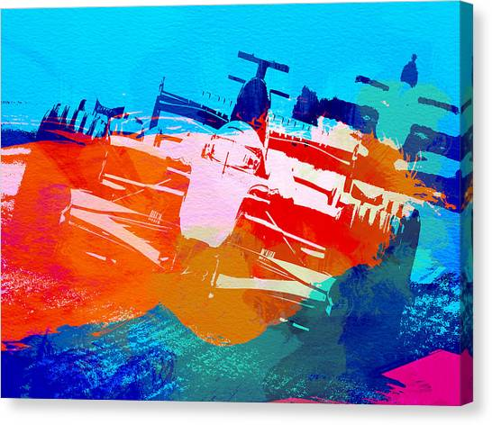 Formula Car Canvas Print - Ferrari F1 Racing by Naxart Studio