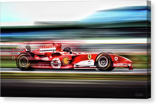 Formula 1 Canvas Print - Ferrari Unbridled by Peter Chilelli