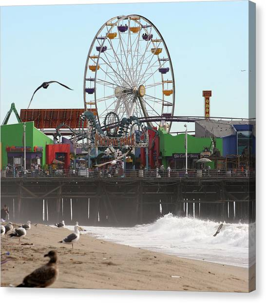 Ferris Wheel At Santa Monica Pier Canvas Print