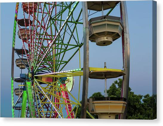 Canvas Print - Ferris Wheel Lights At Dusk Closeup by David Gn