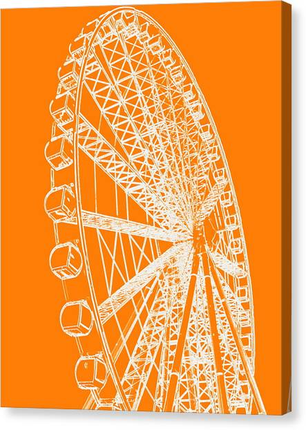 Ferris Wheel Silhouette Orange White Canvas Print