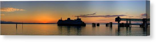 Ferry Boat Arrives To Mukilteo Ferry Terminal Canvas Print