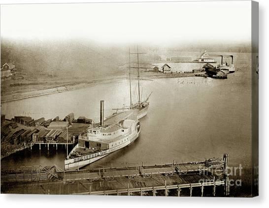 Sidewheelers Canvas Print -  Ferry Boats Sidewheelers Sacramento And California Pacific Rail Co. Circa 1880 by California Views Mr Pat Hathaway Archives