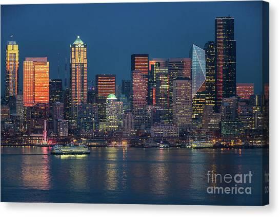 Seattle Skyline Canvas Print - Ferry Crossing Elliott Bay At Sunset by Mike Reid