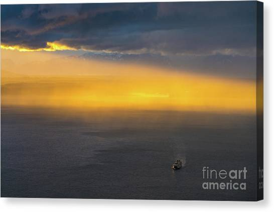 The Nature Center Canvas Print - Ferry Crossing Sunset Rain Squall by Mike Reid