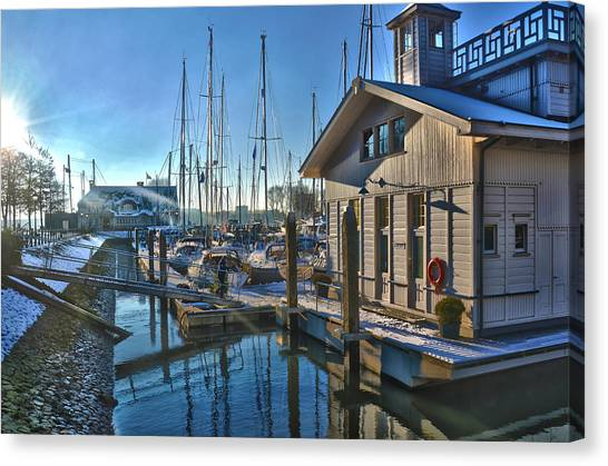 Ferry Harbour In Winter Canvas Print