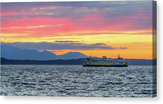 Ferry In Puget Sound Canvas Print