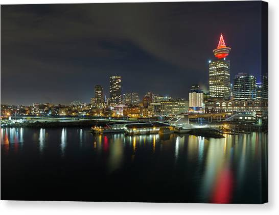 Canvas Print - Ferry Terminal In Vancouver Bc At Night by David Gn