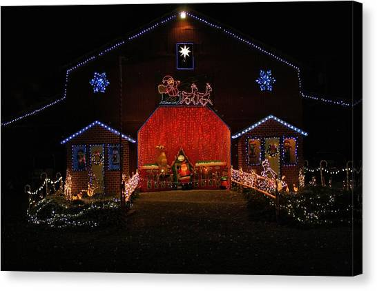 pilot mountain north carolina canvas print festival of lights barn by kathryn meyer