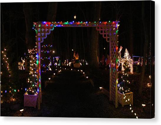pilot mountain canvas print festival of lights gateway by kathryn meyer