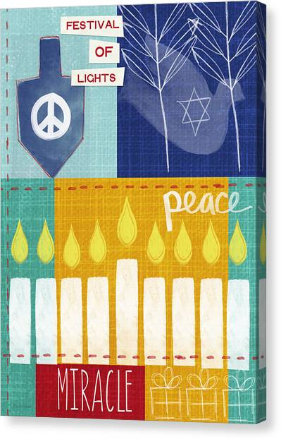 Dove Canvas Print - Festival Of Lights- Hanukkah Art By Linda Woods by Linda Woods