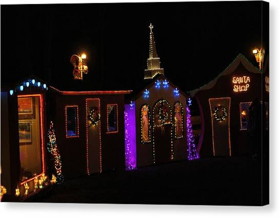 pilot mountain canvas print festival of lights village by kathryn meyer