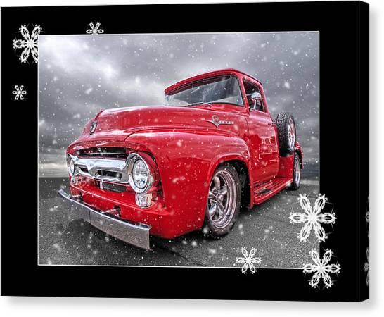 Truck Driver Canvas Print - Festive Red F100 by Gill Billington