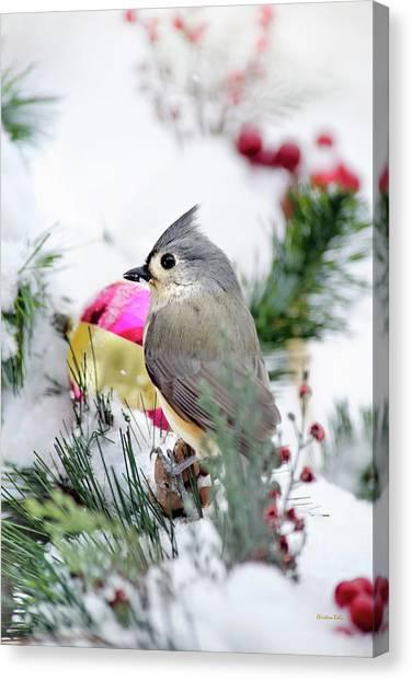 Titmice Canvas Print - Festive Titmouse Bird by Christina Rollo
