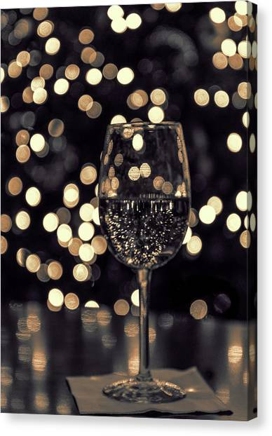 Canvas Print featuring the photograph Festive White Wine by Steven Sparks