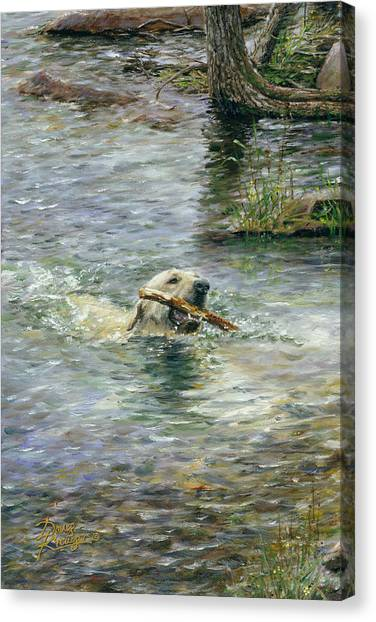 Yellow Lab Canvas Print - Fetch by Doug Kreuger